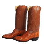 Cognac Full Quill Ostrich Western Boots 8.5 E