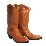 Cognac Full Quill Ostrich Western Boots 11 D
