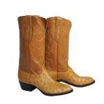 Natural Full Quill Ostrich Cowboy Boots Size 8.5D