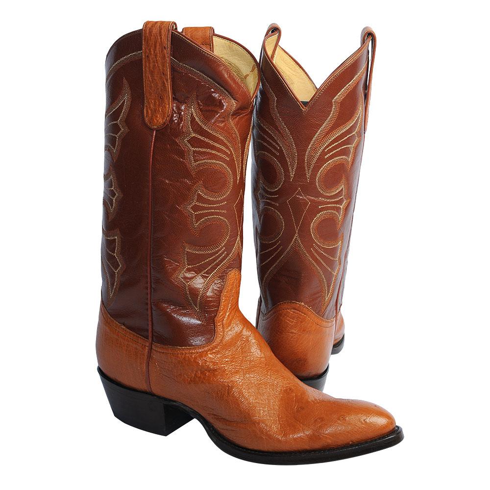 Cognac Smooth Ostrich Cowboy Boots Size 10d Usgator